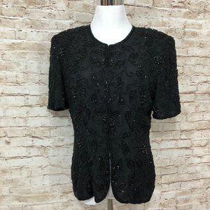 Vtg Silk Beaded Jacket Top Eveningwear Classy M